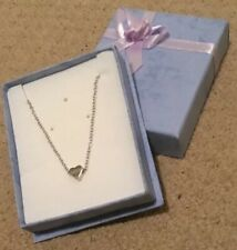 inch Chain Brand New In Gift Box Delicate Silver Coloured Heart Necklace with 18