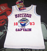 Western Bulldogs AFL Mascot Boys White Printed Cotton Singlet Size 3 New