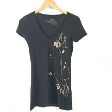 American Eagle T-shirt Women XS Black Floral V-Neck Cotton Graphic Tee Flower