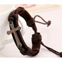 Herren Leder Armband Geflochten Bracelet Legierung W4J4 Surferarmband Vinta G4J2