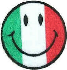 Iron On/ Sew On Embroidered Patch Badge Smiley Italian Italy Face Smiler Smile