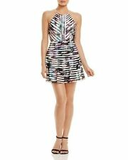 NEW W TAG MSRP$352 SEXY Parker Orion Sheer Striped Printed Dress Marbella SZ L