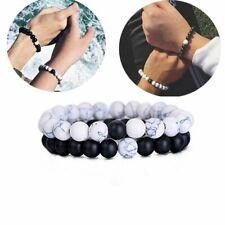 2Pcs Natural Stone 8mm Couple Elastic Yoga Beaded Bracelet Gifts Unisex Jewelry