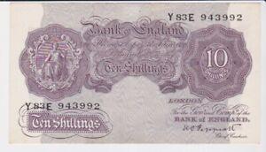 BANK OF ENGLAND 10/- TEN SHILLINGS BANKNOTE SUPERB CONDITION PEPPIATT Y83E943992
