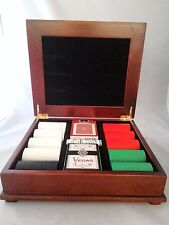 Vegas Poker Set of Playing Cards, Dice, and Poker Chips in Wood Box