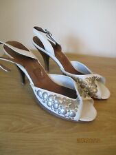 Ted Baker white leather slingback shoes with silver discs and twist front size 6