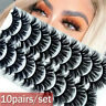 Lots 10 Pairs 3D Mink False Eyelashes Wispy Cross Fluffy Extension Lashes Kit