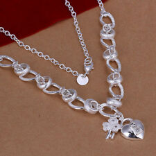 Heart Charm Necklace N-A665 Gift Woman Classic 925 Sterling Silver Filled Key