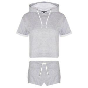 TX Ladies Turn Up Sleeves Hooded GYM Crop Top Shorts New Tracksuit Jogging Set