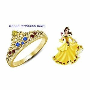 Belle Disney Princess Ring Round Cut Multi-Stone 14K Yellow Gold Plated