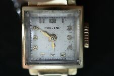 Huguenin 17 Jewel 14 K Gold Bracelet Watch With 10 K Bracelet Circa 1940's Runs