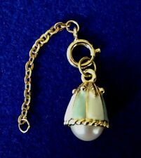 JOAN RIVERS GREEN AND WHITE STRIPE ENAMEL PEARL CHARM W/ EXTENDER CHAIN  C77