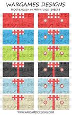 Bandiere 6mm-FANTERIA INGLESE TUDOR-FOGLIO 8-LUCCIO & SHOTTE, Barocco, DBR