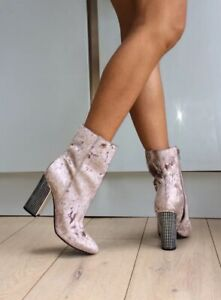 Guess Pale Pink Crushed Velvet Velour Silver Decorated Block Heel Boots 5 38