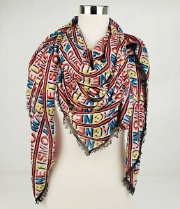 """Gucci White Modal/Silk Square Scarf with Rainbow """"MAGNETISMO"""" Print 519850 9288"""
