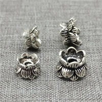 925 Sterling Silver Lotus Double Bead Caps Spacers for Bracelet