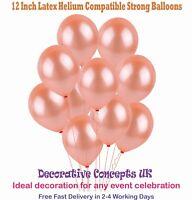 "Rose Gold Balloons 12"" Wedding Birthday Party Baby Shower Helium Latex UK DEALER"
