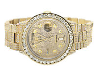 Excellent 18K Yellow Gold Rolex 18038 Day-Date Presidential Diamond Watch 17 Ct