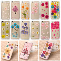 Pressed Dried Flower Daisy Transparent Soft Case Cover For iPhone SE 6 6s 7 Plus