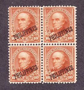US PHIL 217a 10c Webster Mint Block of 4 VF OG H SCV $600