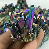 Natural Quartz Crystal Rainbow Titanium Cluster VUG Mineral Specimen Healing AU