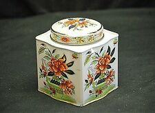 Vintage Daher England Advertising Orange Floral Scalloped Biscuits Litho Tin Can