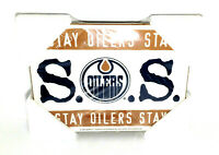 Edmonton Oilers Rare S.O.S Stay Oilers Stay Wood Wall Hockey Poster 1998 Vintage