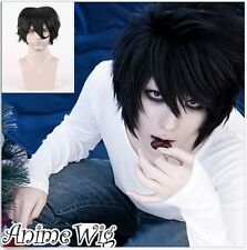Free Shipping Hot DEATH NOTE L Lawliet Black Short Anime Cosplay Wigs + Hair Cap