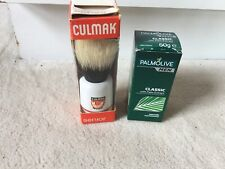 Vintage Culmak Senior Natural Bristle Shaving Brush With Shaving Stick- New