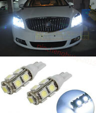 2X Bright White 9-SMD-5050 LED Bulbs For Car Parking Lights 168 194 2825 W5W 12V