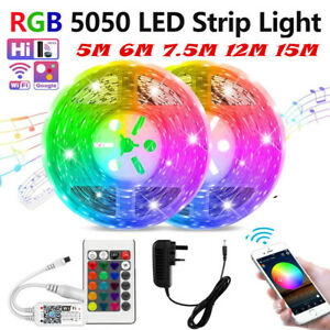 5M 6M 12M 15M Smart WiFi LED Strip Lights Works with Alexa Phone App Controlled