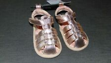 M&S Leather Metallic Rip Tape Sparkle Sandals 0-3mths Metallic BNWT