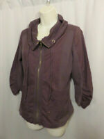 XCVI Casual Jacket Top Brown Zip Front Draped Collar/Neckline Artsy Size S Small
