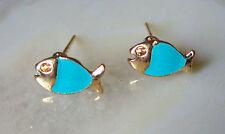 Ohrstecker Ohrring Fisch Fische hell blau emailliert vergoldet