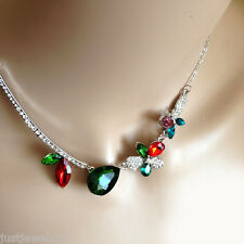 Emerald Green Ruby Red Crystal Necklace Silver Chain Vintage Jewellery Floral xx