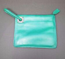 VTG  Anne Klein Turquoise Clutch Wristlet Silver Tone Accent 1980's Retro Purse