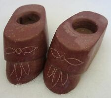 PAIR of AMERICAN INDIAN Carved CATLINITE PIPESTONE MOCCASIN CANDLESTICK HOLDERS