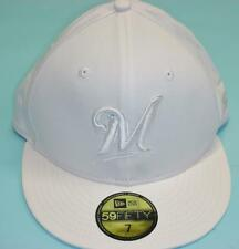 MLB Milwaukee Brewers White & Gray 59Fifty Fitted Cap, White, Size 7, 55.8cm