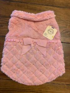 NWT BOND&Co. Dogs Pink Rose Faux Fur Bomber Jacket Pink W/Bows MEDIUM M