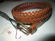 DENTS Braided Leather Belt Brown Sz L