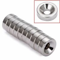 12mm x 4mm Hole 4mm Round Countersunk Ring Magnets 10 x N50 Rare Earth Neodymium