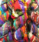 1 Quality Recycled Soft Silk Sari RIBBON Knit Crochet Woven Yarn 100 Grams