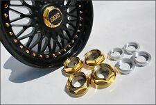 Bmw BBS RC 090 040 Adaptor + Gold Center Caps Hex Nuts 17 18 Inch Style 5 Custom
