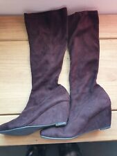 Brown Wedge Stretch Knee High Boots Wider Calf Size 4 Wide Fit