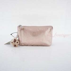 NWT Kipling AC7248 Creativity L Large Accessory Pouch Nylon Rose Gold Metallic