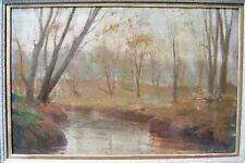 """Unknown Artist """"Late Fall Landscape"""" c1900 Framed Tonalist Painting"""