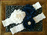 Wedding garter, Bridal Garter Set - Navy & Ivory Flower Garter Set