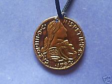 pirate gold colored eight real coin necklace on black cord