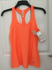 Under Armour Womans Heat Gear Vest Tank Orange Extra Small XS Fitted Yoga Gym 26
