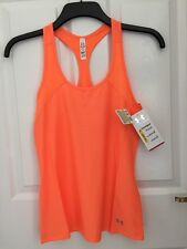 Under Armour Womans Heat Gear Vest Tank Orange Extra Small XS Fitted Yoga Gym 7